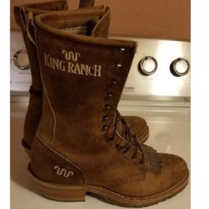 Justin Boots Shoes Mens King Ranch Lace Up Cowboy Boots